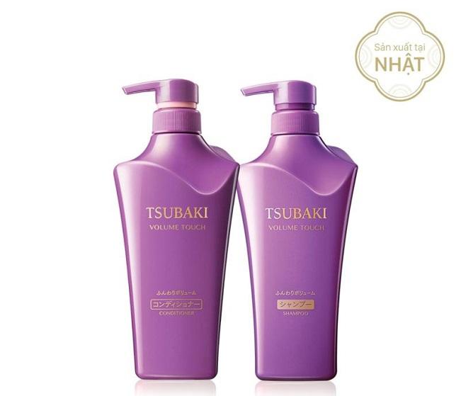 Bộ đôi dầu gội Tsubaki ngăn rụng tóc Volume Touch: Màu tím