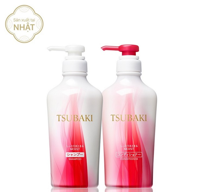 Bộ đôi dầu gội đỏ Tsubaki Moist Shampoo