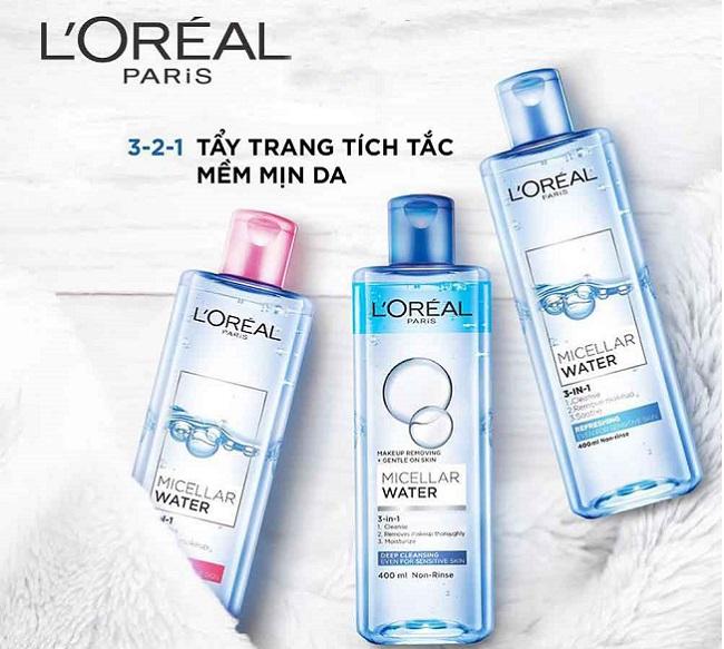 Nước Tẩy Trang Cho da dầu, da khô, da nhạy cảm L'Oreal 3 In 1 Micellar