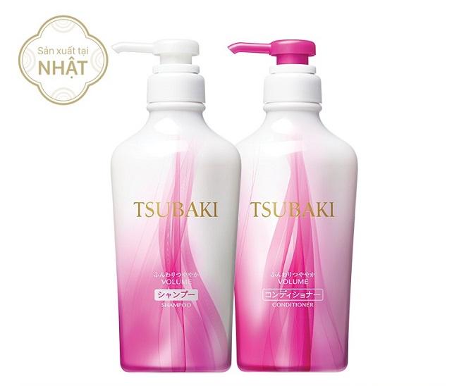 Bộ đôi dầu gội và dầu xả TSUBAKI Botanical Volume Shampoo & Conditioner - Màu hồng nhẹ trắng