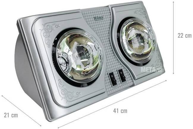Đèn sưởi nhà tắm Hans H2B 2 bóng (Bạc)