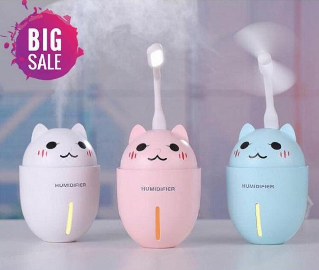 Máy xông tinh dầu phun sương 3 in 1 hình mèo cute