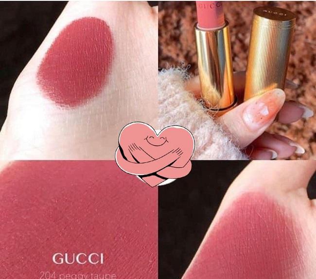 Son Gucci Rouge À Lèvres Voile Mat Màu 204 Peggy Taupe Hồng Đất