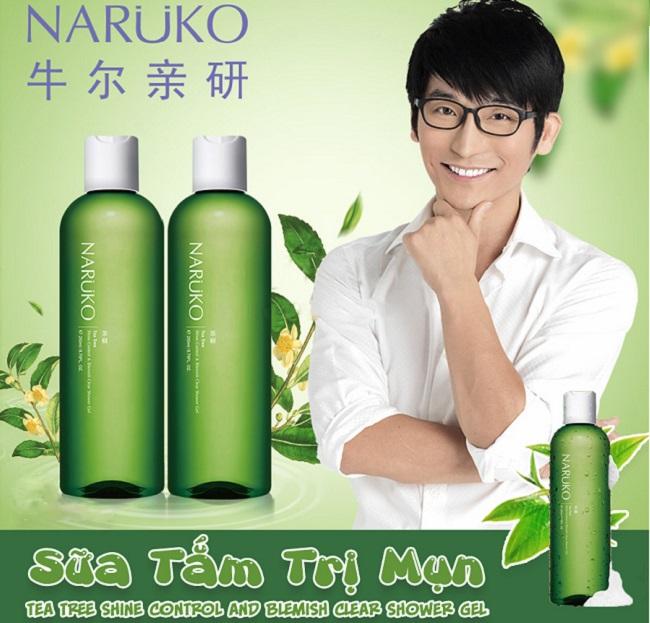 Sữa tắm trị mụn lưng Naruko Tea Tree Shine Control & Blemish Clear Shower Gel