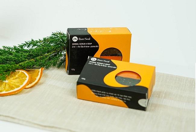 Xà phòng hỗ trợ điều trị mụn và thâm Baresoul Herbal Scrub & Soap